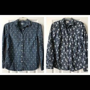 Lot of 2 J.Crew Size S Chambray Blue Blouses